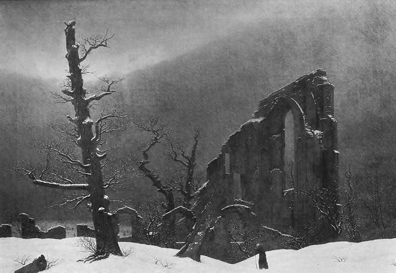 Caspar David Friedrich, Moine dans la neige, 1808