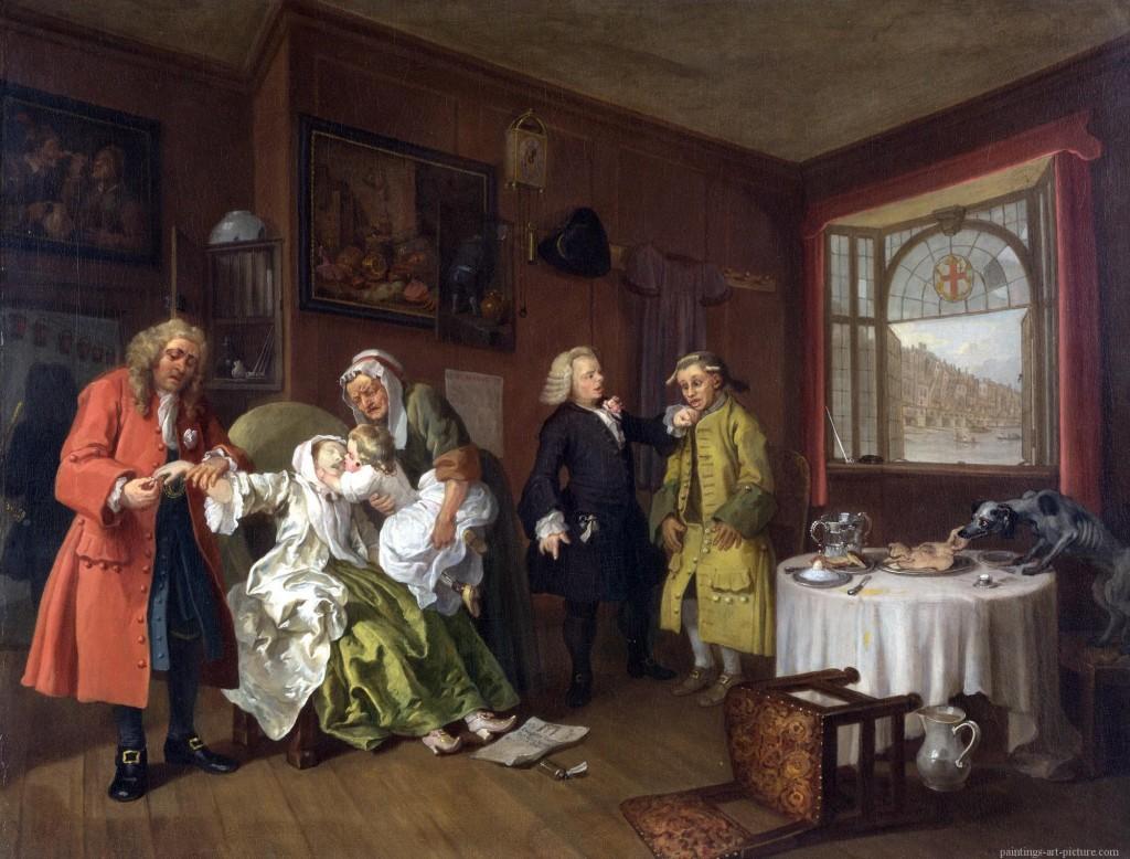 William Hogarth, Mariage à la Mode - Death of a Woman - tableau final de la série