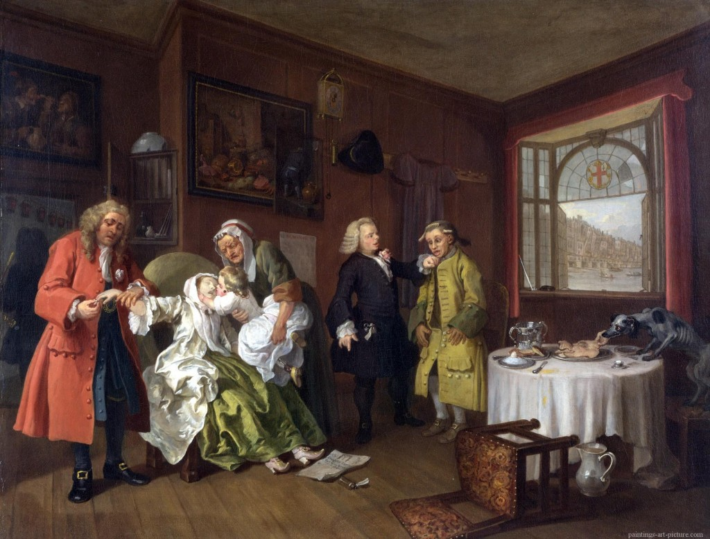 William Hogarth, Mariage à la Mode - Death of a Woman - tableau final de la série