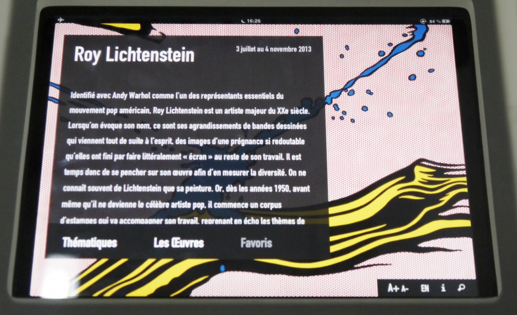 Application pour IPAD Roy Lichtenstein Centre Pompidou