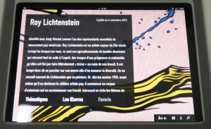 Application pour IPAD Roy Lichtenstein Centre Pompidou