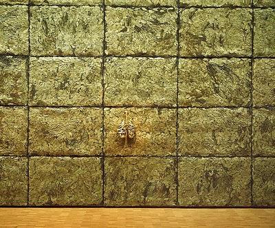 Giuseppe Penone, Respirer l'ombre [Respirare l'ombra], 1999 Cages métalliques, feuilles de laurier, bronze 330 x 180 x 130 cm; module de Respirer l'ombre: 78 x 117 x 7 cm Collection Centre Pompidou-Mnam, Paris Vue de l'installation au Centre Pompidou Ph. Cnac/Mnam/Dist. RMN; Philippe Migeat, 2000