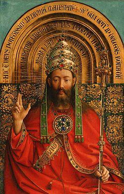 Het Lam Gods, détail d'un panneau supérieur Dieu le Père ou Jésus