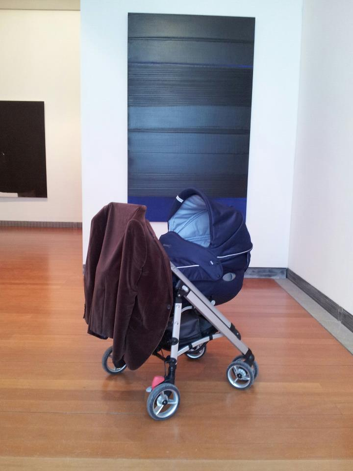 My son admiring a recent Pierre Soulages's painting, Museum of Fine Arts, Lyon