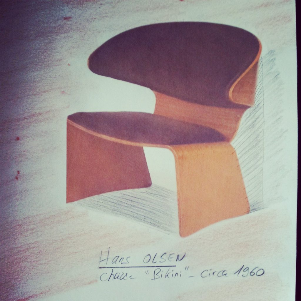 """Hans Olsen, chaise """"Bikini"""", CIRCA 1960"""
