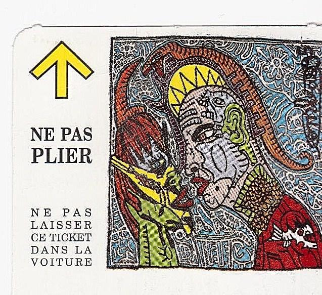 Robert Combas, ticket conçu pour la rétrospective consacrée à l'artiste au MAC Lyon, 2012.