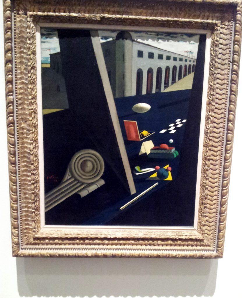Giorgio De Chirico, Les casernes du marin, 1914. dans l'exposition Cornell et les surréalistes au Musée des Beaux Arts de Lyon.