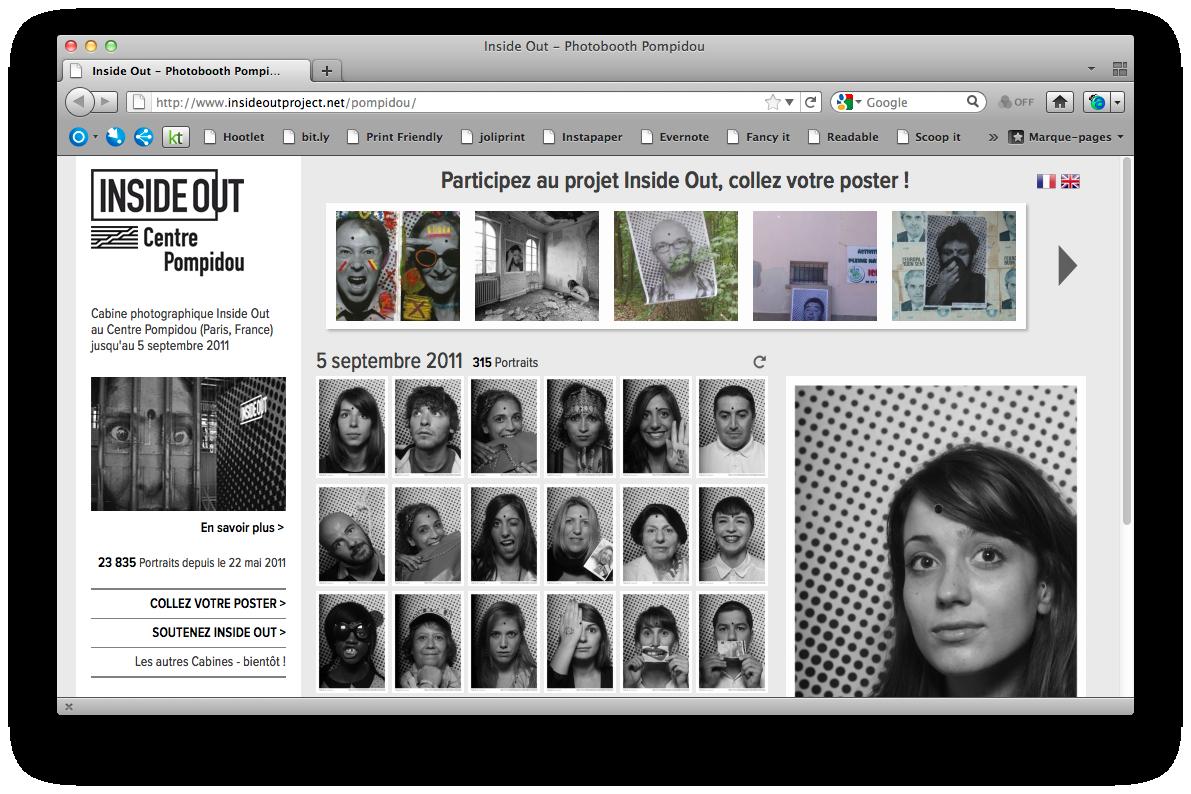 Page d'accueil du Projet INSIDE OUT sur le site web du Centre Pompidou, 2011.