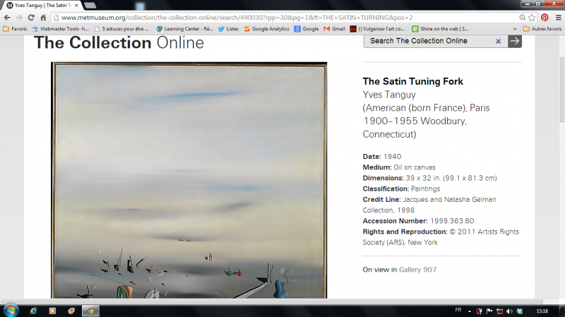 Visualisation oeuvre de la collection du MET. Yves Tanguy, the Satin Tuning Fork, 1940