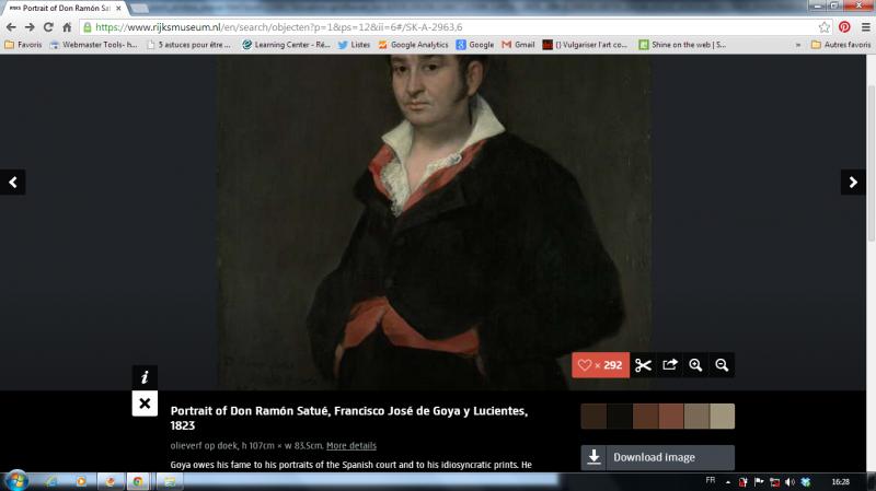 Francisco José de Goya y Lucientes, Portrait of Don Ramon Satué, 1823 - Capture d'écran depuis le site web du Rijksmuseum, à droite la palette de couleurs de l'oeuvre