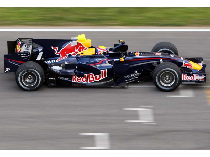 Formula 1 driver Mark Webber with the Red-Bull Renault, 2008.