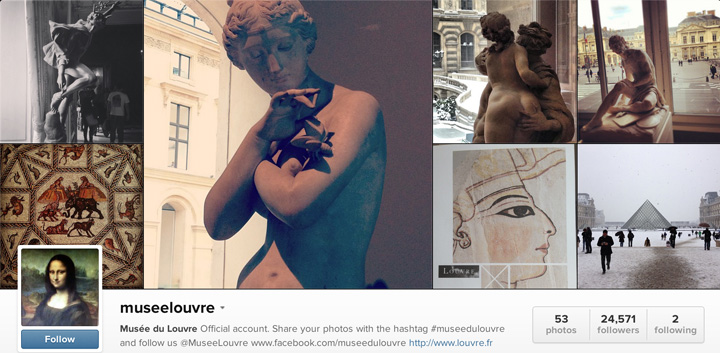 Le compte Instagram du Musée du Louvre