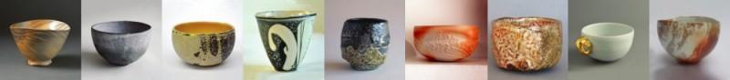 """Bols à thé, céramiques présentées dans le cadre de l'exposition """"Autour du bol à thé"""""""