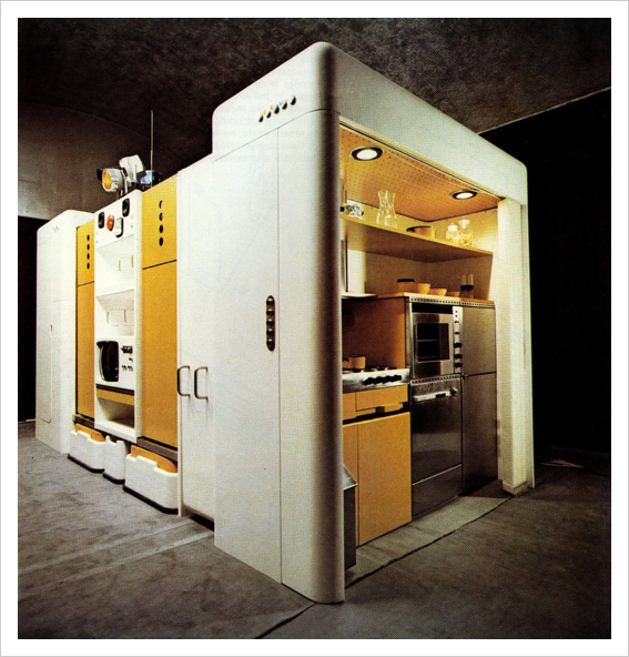 Total Furnishing Unit (1971/2) Single living system that contained all the necessities of life, including a kitchen. From the book that accompanied the 1972 Museum of Modern Art exhibition, Italy: The New Domestic Landscape - See more at: http://eloisemoorehead.com/post/9549583402/joe-colombo-with-collaborator-ignazia-favata#sthash.G3ovoDoP.dpuf