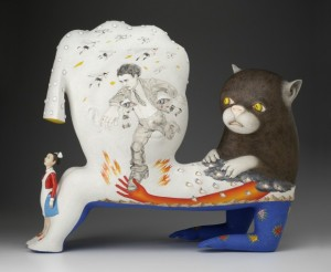 Sergei Isupov, Speech of the Wild Animal, 2012. Porcelain, slip, glaze, 24.5 x 29 x 10''