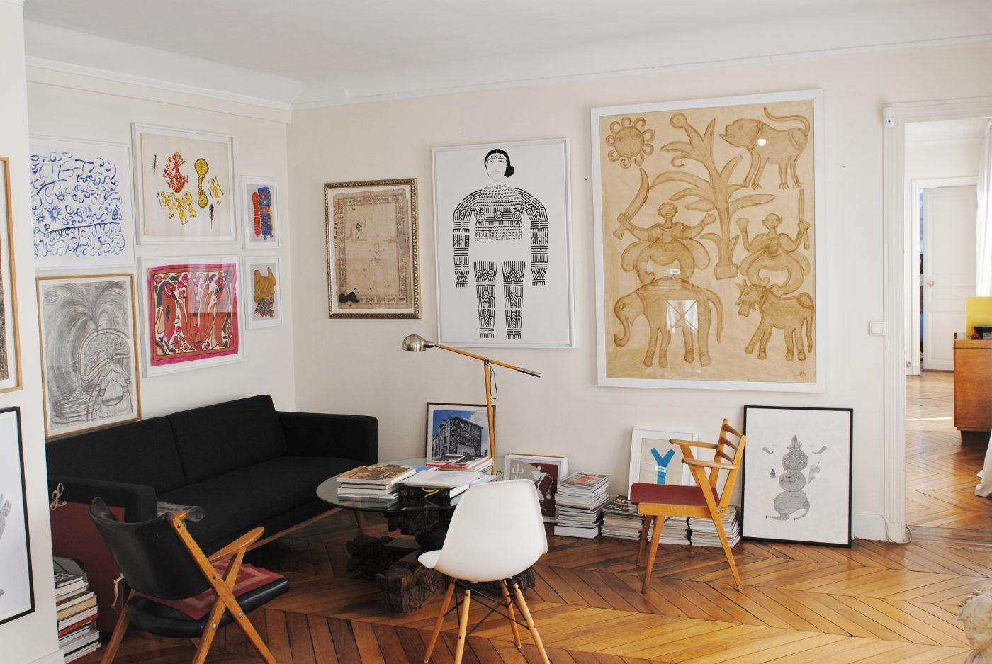 Chez Hervé Perdriolle, les pièces d'art tribal indien côtoient des pièces plus contemporaines