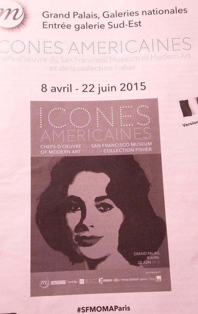 Dépliant de l'exposition ICONES AMERICAINES au Grand Palais, du 8 avril au 22 juin 2015