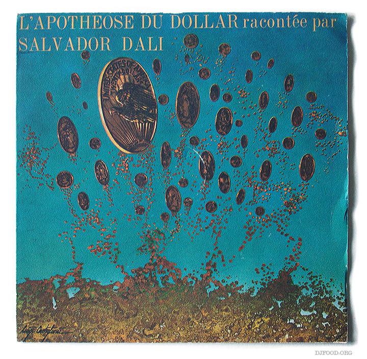 Salavador Dalí, couverture du disque L'apothéose du Dollar, campagne pour le CCF, réalisation Publicis, 1971