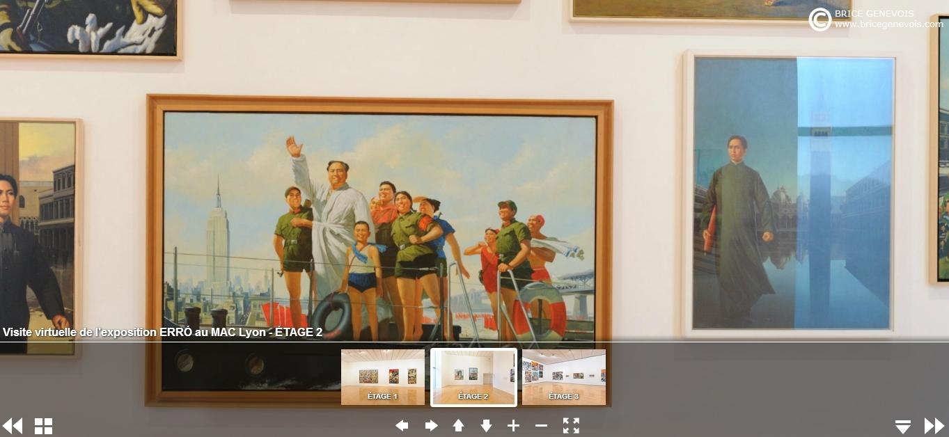 Capture d'écran, visite virtuelle de la rétrospective consacrée en 2014 à Erró au MAC Lyon