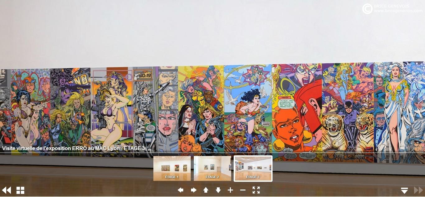Visite virtuelle de l'exposition Erró depuis le site web du MAC Lyon