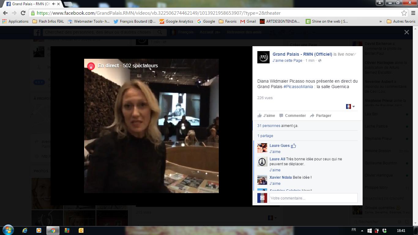 Capture d'écran depuis mon PC. Diana Widmaier Picasso présente la salle consacrée à Guernica