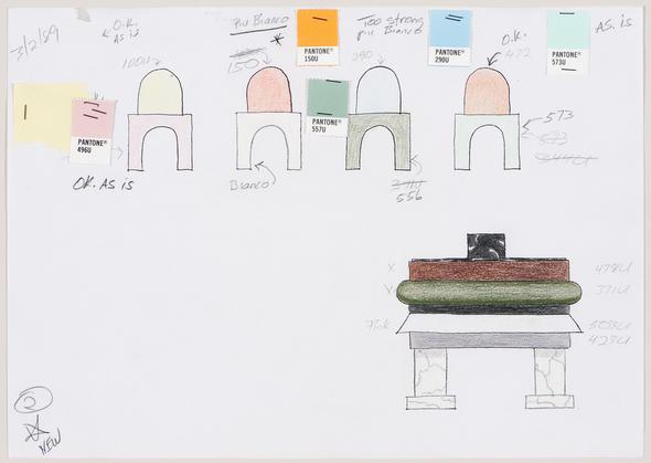 Ettore Sottsass,  Étude de couleurs pour la conception de la table et des chaises destinées à la maison Shaughnessy. Mine de plomb, crayon de couleur et pastilles de couleur sur reprographie.  Collection du Centre Canadien d'Architecture, Montréal. © Ettore Sottsass