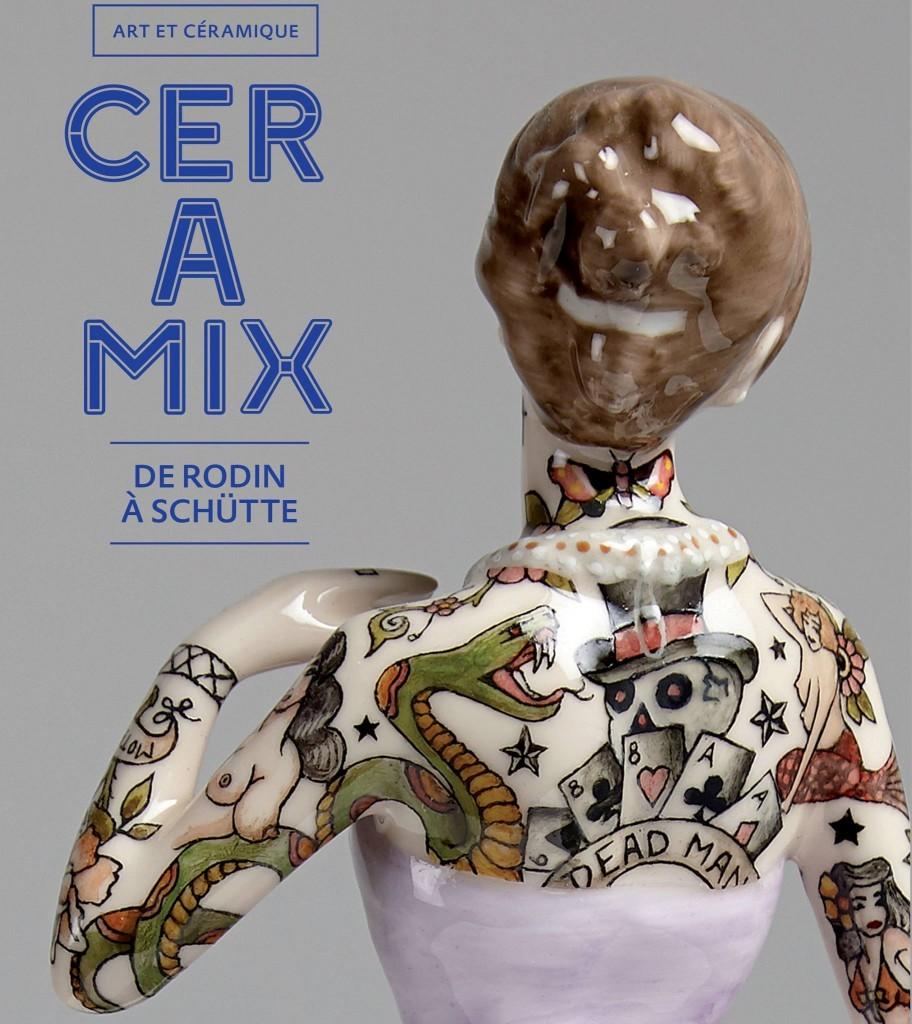 Affiche de l'exposition CERAMIX, dos d'une pièce de Jessica Harrison