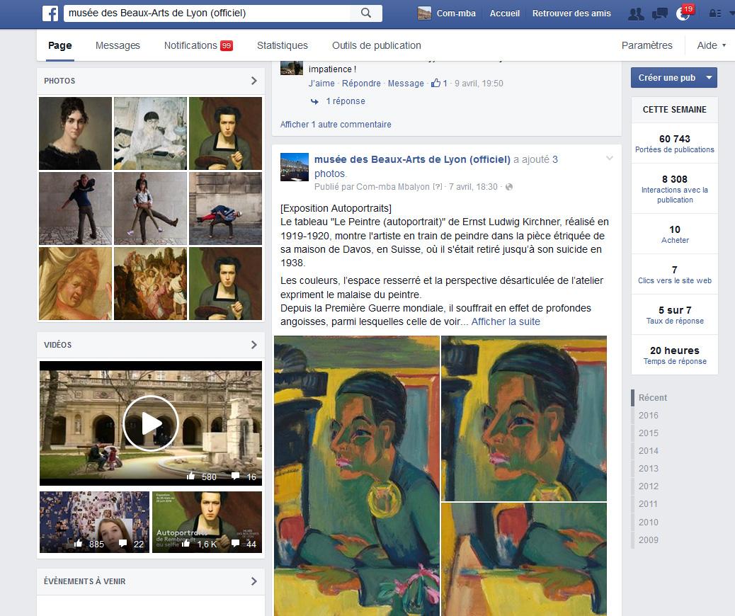 Capture d'écran, page du compte Facebook du MBA