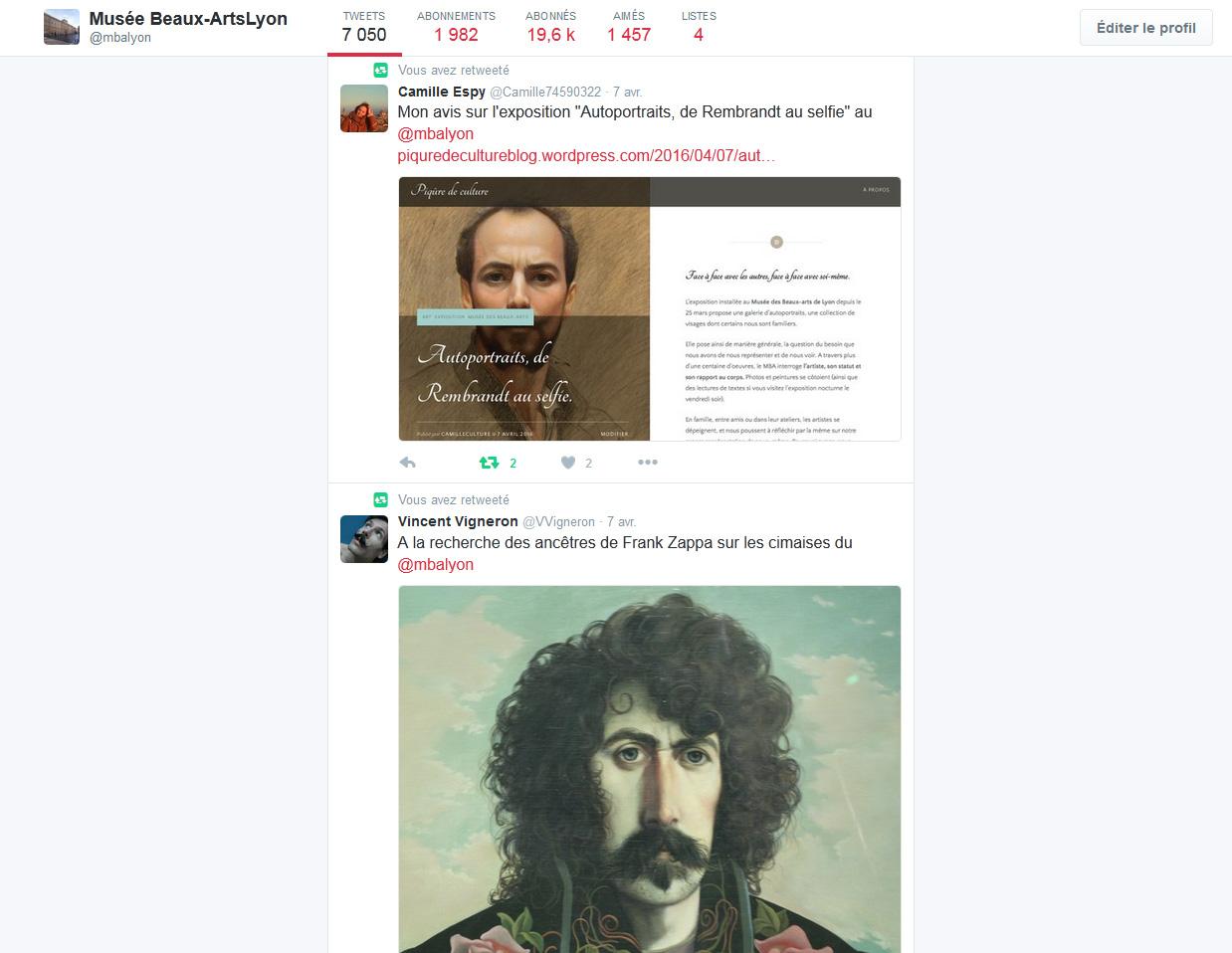 Le compte Twitter du MBA Lyon. L'application est un outil de communication interactif indispensable pour le Musée des Beaux-Arts de Lyon