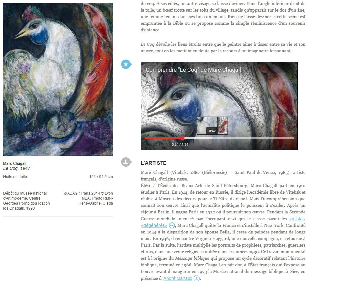 Capture d'écran, vue sur une page du site web Collection du XXième siècle - Musée des Beaux-Arts de Lyon