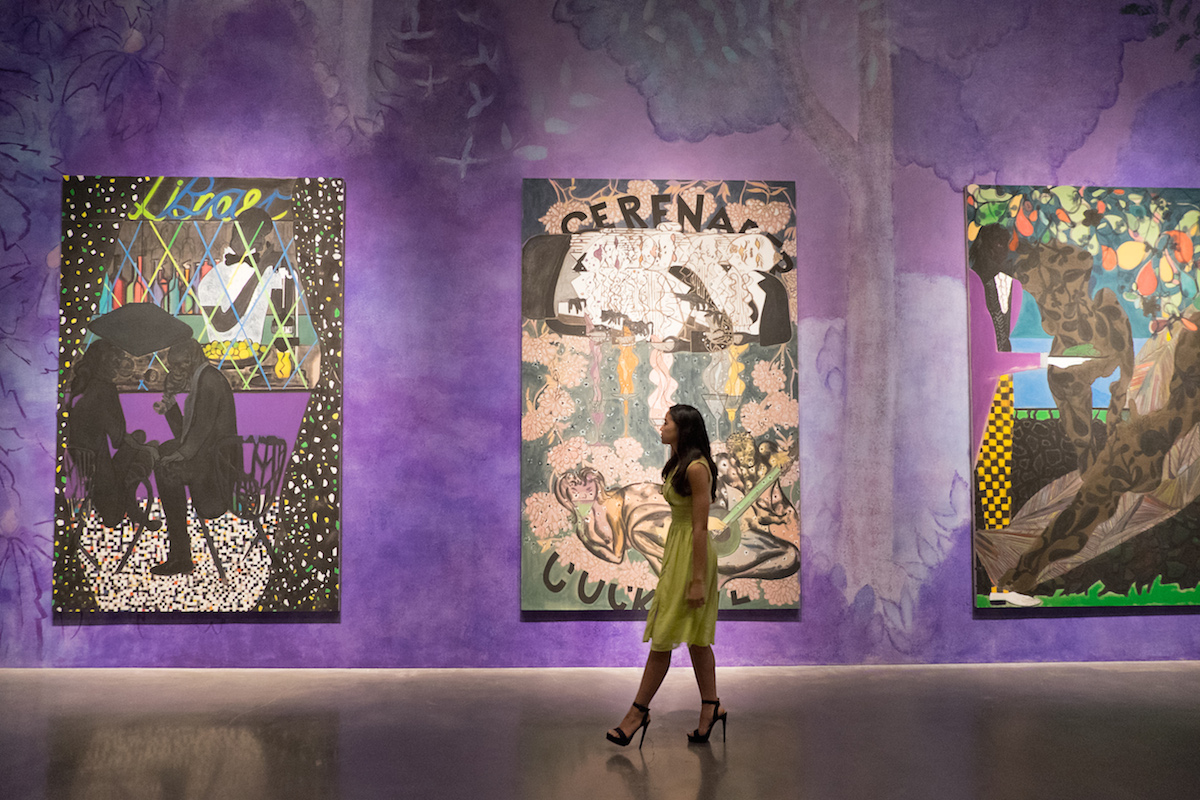 Chris Ofili, de gauche à droite : Lime Bar, Cocktail Serenader et Frogs in the Shade (Right)