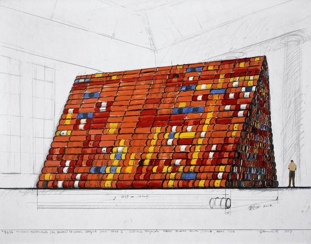 "Christo,  4656 Tonneaux Métalliques (Oil Drums) 50 litres chacun pour salle I, Galleria Nazionale d'Arte Moderna Roma, Italia, Mars. Drawing 1967  22 x 28"" (56 x 71 cm)  Pencil, charcoal, crayon, enamel paint and photograph  Private collection  Photo: Paul Hester  © 1967 Christo 1968"