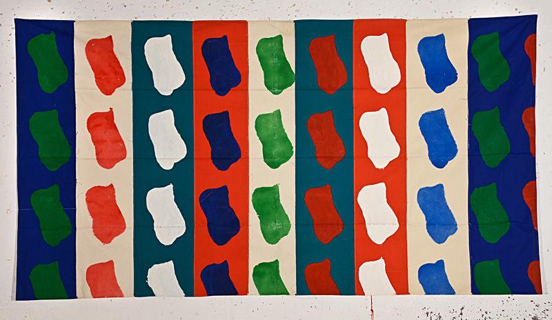Claude Viallat, Sans titre, 1991, acrylique sur bâche