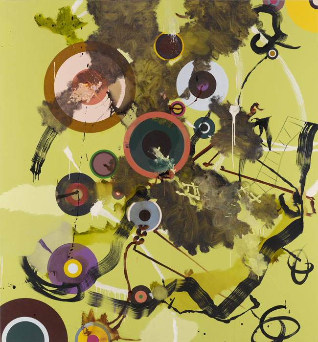 Fiona Rae, Untitled (Green with circles), 1996