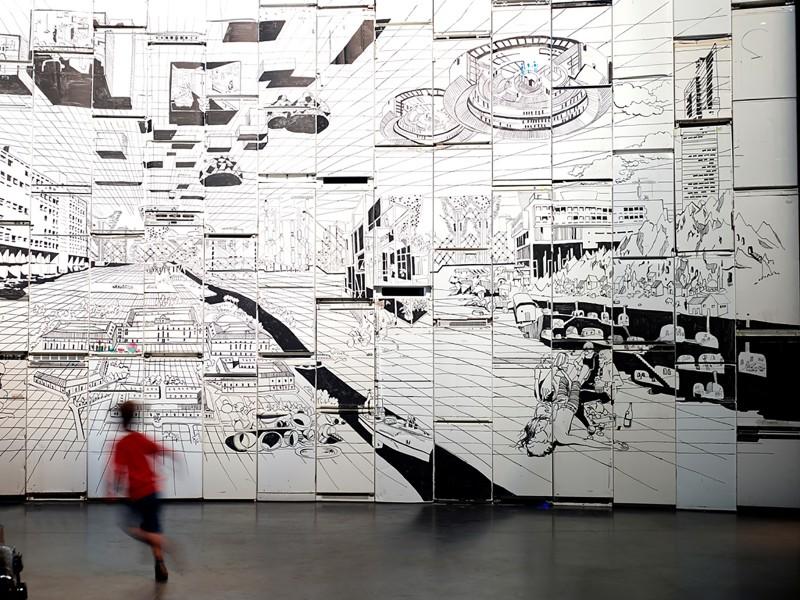 Vue de l'exposition Raumlaborberlin, Neocodomousse, 2016. LiFE - Grand Café centre d'art contemporain, Saint-Nazaire ©Raumlaborberlin