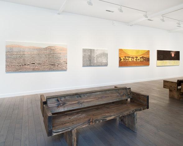 Vue de l'exposition Nate Lowman, World of Interiors, 2016 au FRAC Champagne-Ardenne