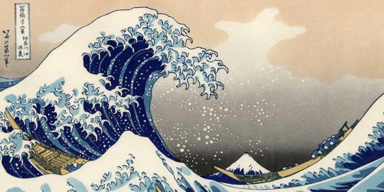 "Katsushika Hokusai (1760 -1849) ""Dans le creux d'une vague au large de Kanagawa""Série : Trente-six vues du mont Fuji. Signature : Hokusai aratame Iitsu hitsu"