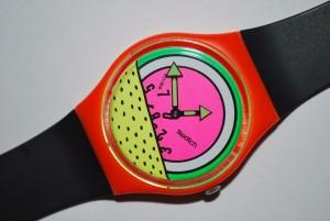 Un modèle de Montre Swatch, design 1984 à Keith Haring