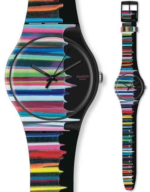 Alignement horizontal de couches colorées sur fond noir sur le modèle TimeIsNeverEnough SUOZ118 de Markus Linennbrink