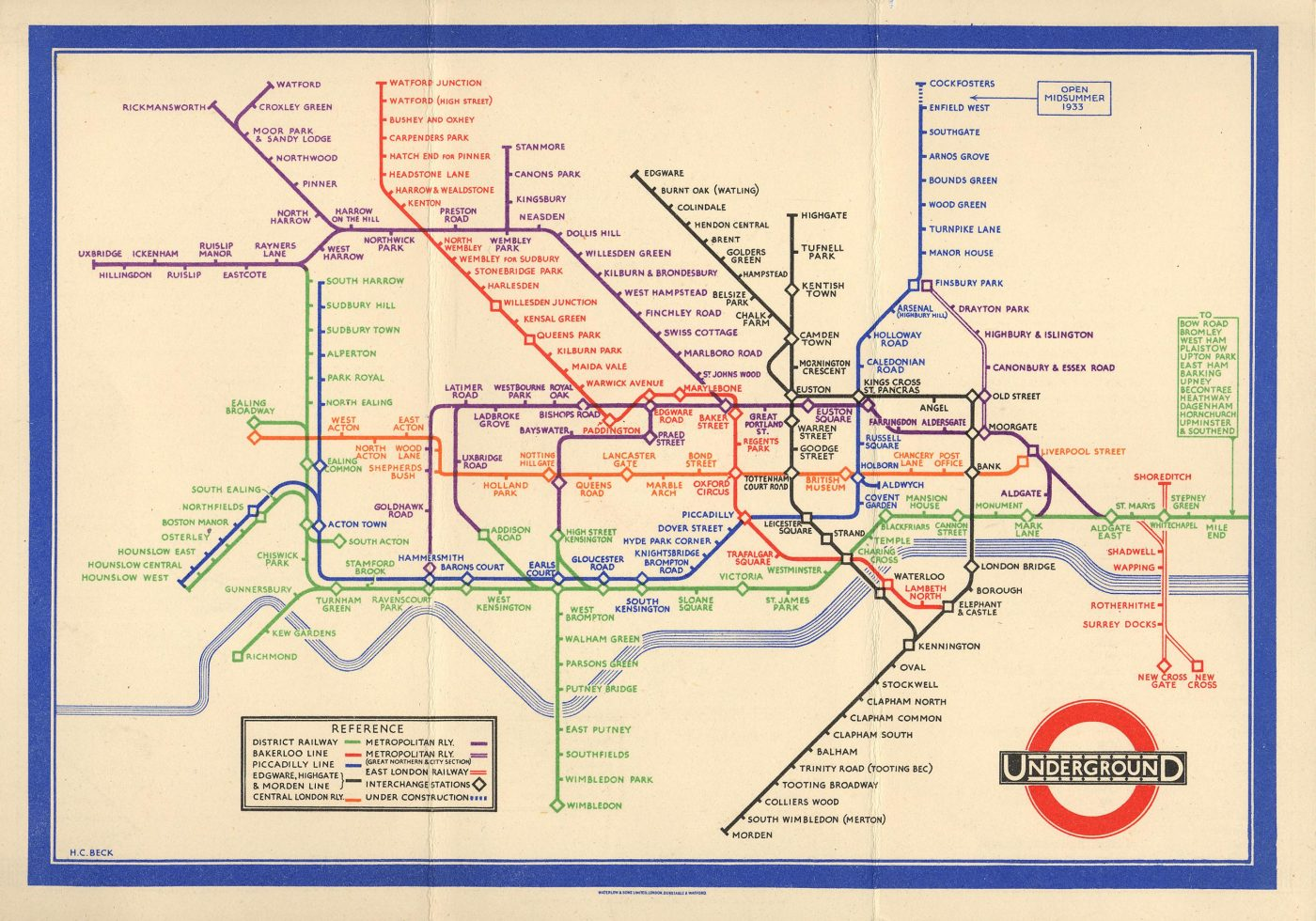 Le plan du métro de Londres, Harry Beck, 1933.
