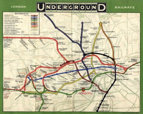 Plan du métro de Londres en 1908, un plat de spaghetti ?