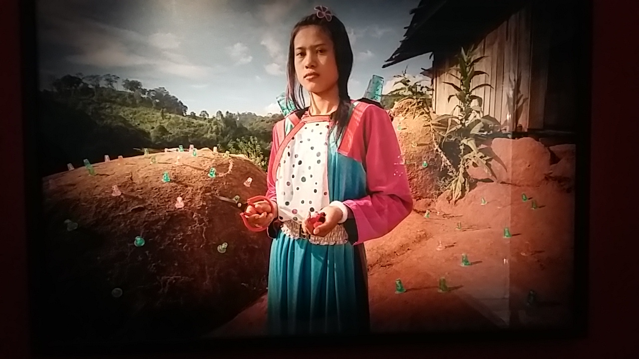 Photographie de Marc Lathuillère issue de l'exposition L'Anthropologue et le Photographe à la Friche Belle de Mai, Marseille. Femme du village de Ban Sam Kula, Thailande.