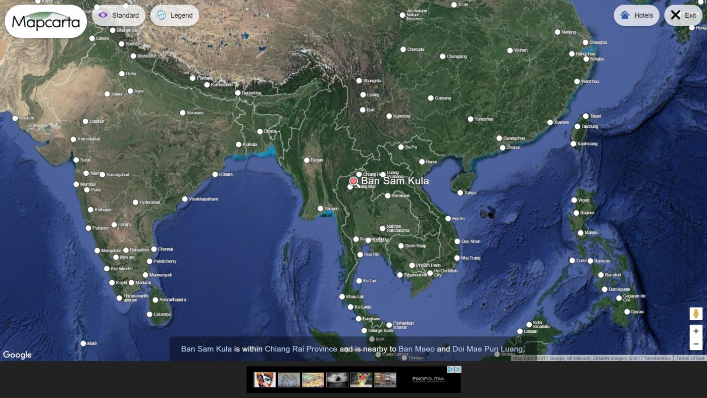 Capture d'écran, géolocalisation du village de Ban Sam Kula, Thailande