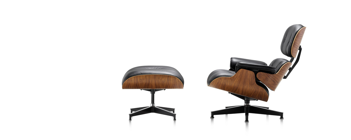 charles et ray eames fauteuil lounge et repose pieds ottoman. Black Bedroom Furniture Sets. Home Design Ideas