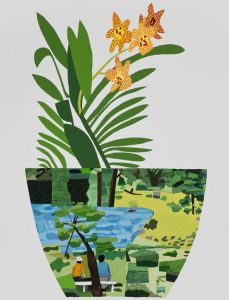 Jonas Wood, Landscape Pot with Yellow Orchid, 2014, oil and acrylic on canvas, 3 × 2.3 m
