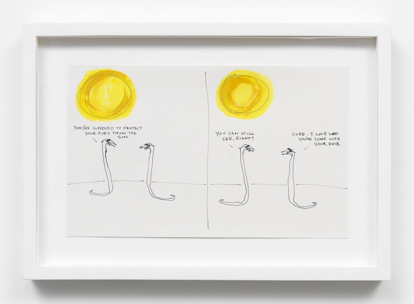 Stanya Kahn. Les dessin à l'encre sur papier de l'artiste évoquent la sécheresse, la chaleur, les serpents du désert de Mojave