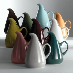 "Russel Wright, made by Steubenville Pottery, Steubenville, OH, ""American Modern"" pitchers, 1939, earthenware"