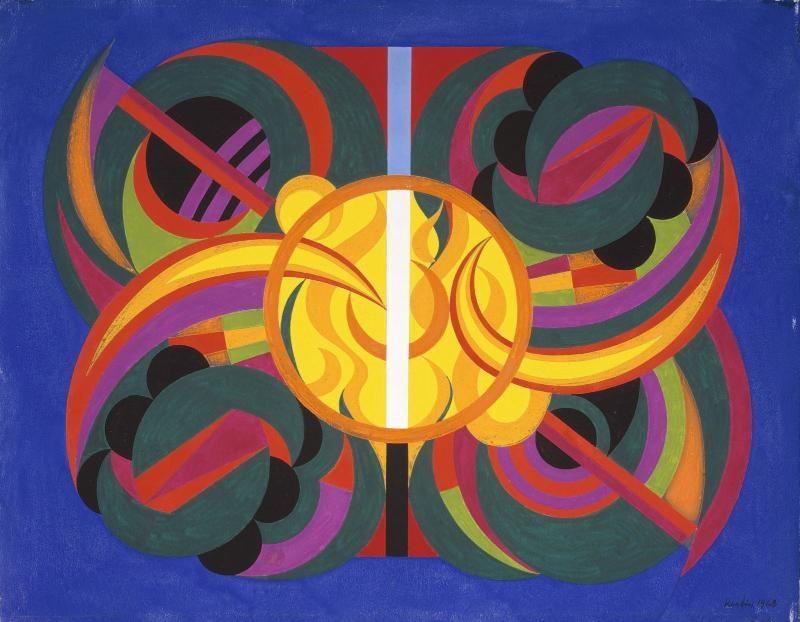 Auguste Herbin, Composition sur les lettres R, Be, In, (Her = Bin) (premier portrait spirituel - troisième état), 1942