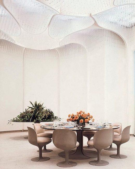 Décoration de la salle à manger de l'Elysée, réalisation Pierre Paulin