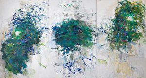 Joan Mitchell, Chicago, 1966-1967, huile sur toile, triptyque, 259,08 x 485,14 cm, collection privée, Courtesy Joan Mitchell Foundation, © Estate Joan Mitchell